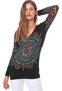 Suéter Desigual Tricot Ennis Preto/Verde