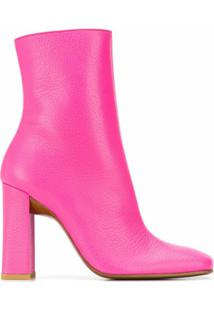 By Far Ankle Boot Com Bico Quadrado - Rosa