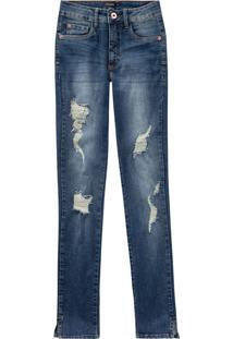 Calça Jeans Push Up Cropped Puídos Malwee