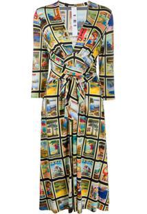 Ultràchic Tie Waist Dolce Vita Print Dress - Preto