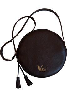 Bolsa Line Store Leather Redonda Couro Marrom Escuro. - Kanui