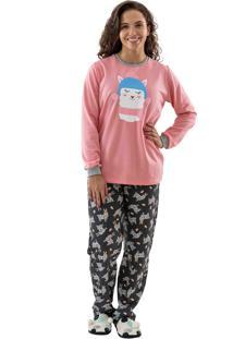 Pijama Flanelado Longo - Lhamas - Mania Pijamas