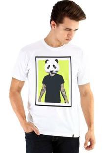 Camiseta Ouroboros Manga Curta Panda Man - Masculino-Branco