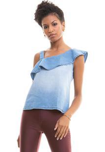 Blusa Jeans Decote Assimétrico Blue Jeans