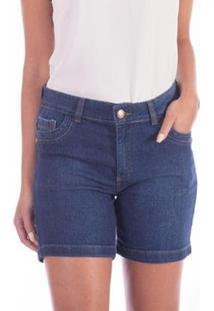 Bermuda Meia Coxa Sisal Jeans Feminina - Feminino-Azul