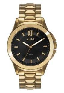 Relógio Euro Analógico Multifunção Moderno Feminino - Feminino-Dourado