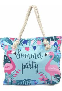 Bolsa De Praia Bijoulux Em Lona Summer Party E Flamingos
