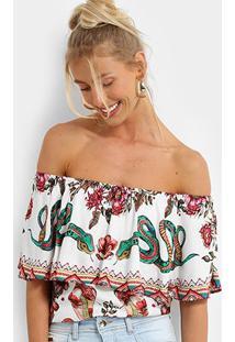 Blusa Colcci Ombro A Ombro Estampada Feminina - Feminino-Preto