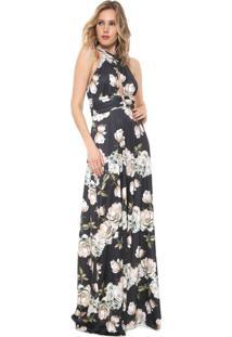 12759f14dd51 Vestido Preto Lança Perfume Longo Floral