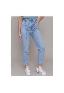 Calça Jeans Dialogo Slouchy Com Cinto E Bolsos