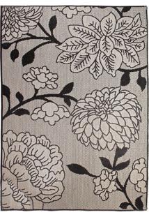 Tapete Sisllê Floral V Retangular Polipropileno (200X300) Preto