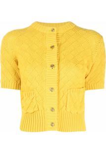 Ami Amalia Jaqueta Clouded Squares Com Botões - Amarelo