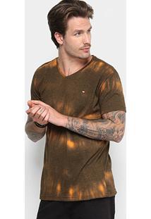 Camiseta Gangster Gola V Tie Dye Masculina - Masculino-Preto+Laranja