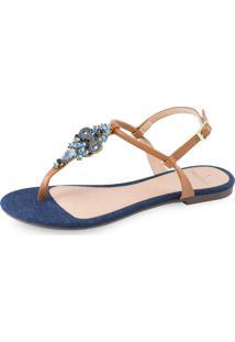 Sandália Flat La Femme Mandala Blue 40