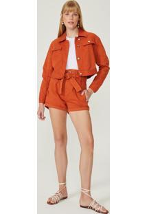 Shorts Sarja Com Amarração Cintura