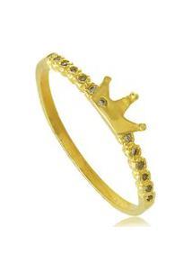 Anel 3Rs Semijoias Coroa Pequena Com Zircônias Folheado A Ouro18K