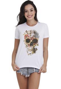 Camiseta Básica Feminina Joss Caveira Pantanal Branca - Kanui
