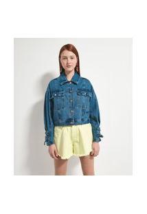 Jaqueta Jeans Lisa Com Amarração Nas Mangas | Blue Steel | Azul | Pp