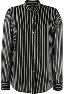 Dkny Button Up Striped Blouse - Preto