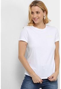 Blusa Calvin Klein Logo Feminina - Feminino-Branco