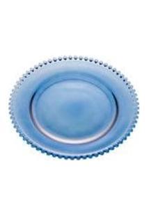 Sousplat De Cristal Pearl Wolf Azul 32Cm