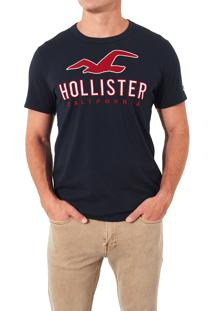 Camiseta Manga Curta Hollister Gráfica Azul Marinho
