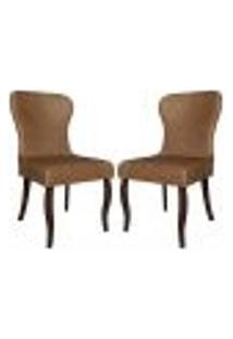 Kit 2 Cadeiras Decorativas Sala De Jantar Duque Madeira Couro Sintético (Pu) Marrom - Gran Belo