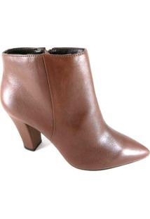 Bota Cano Curto Sapatoweb Couro Feminino - Feminino-Marrom