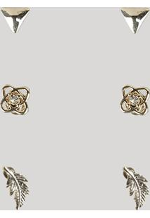 Kit De 3 Brincos Femininos Dourado - Único