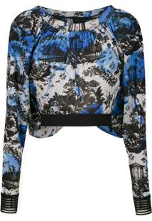À La Garçonne Top Cropped 'Day' Jersey - Azul