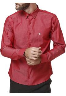 Camisa Manga Longa Masculina Vermelho - Masculino