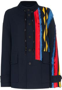 Angel Chen Embroidered Stripe Coat - Azul