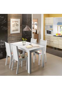 Conjunto De Mesa De Jantar Com 4 Cadeiras Rosie Linho Branco E Hibiscos