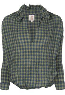 A Shirt Thing Blusa Xadrez Com Babados Na Gola - Azul