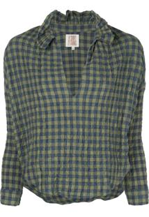 A Shirt Thing Penelope Ruffle Neck Gingham Blouse - Azul