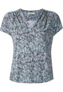Fillity Blusa Estampada Decote V - Azul