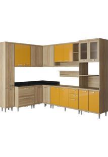 Cozinha 9 Módulos 16 Portas 5 Gavetas Argila E Amarelo Multimóveis