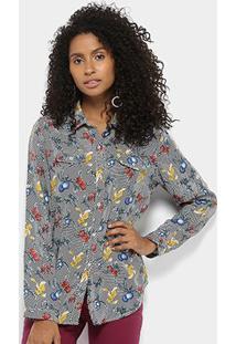 Camisa Manga Longa Lily Fashion Floral Feminina - Feminino-Preto