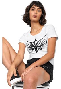 Blusa Cativa Marvel Capitain Marvel Branca