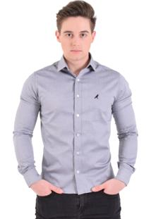Camisa Social Masculina Slim Cinza Claro 300201
