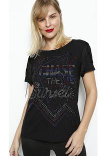 Camiseta Com Termocolantes & Franjas- Preta & Azuldimy