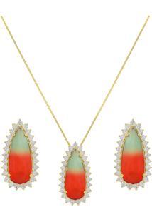 Conjunto Narcizza Semijoias Brinco E Colar Gota Rainbow Cristal Multicollors Verde E Vermelho Ouro