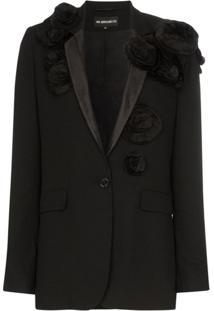 Ann Demeulemeester Blazer Com Estampa Floral 3D De Lã Virgem - Preto