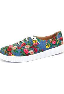 Tênis Creeper Quality Shoes Feminino 005 Jeans Floral 798 37