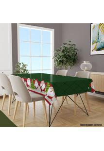 Toalha De Mesa Retangular Para 8 Lugares Multi Papai Noel Com Geomã©Trico 1.45M X 2.70M ÚNico - Multicolorido - Dafiti