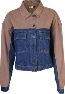 Jaqueta Jeans Hering Color Block Azul/Bege