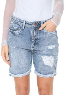 Bermuda Jeans Carmim Reta Carla Tomboy Azul