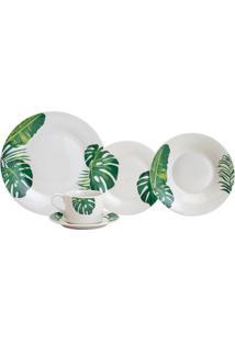 Aparelho De Jantar E Chá Lyor Tropical Em Porcelana 20 Peças