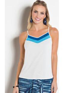 Blusa Com Recorte No Decote Branca E Azul