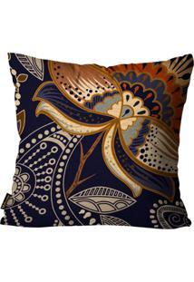 Capa Para Almofada Premium Peluciada Mdecore Floral Marinho 45X45Cm Azul